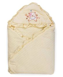 1st Step Baby Wrapper Teddy Bear Embroidery - Yellow