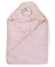 1st Step Baby Wrapper Teddy Bear Embroidery - Pink