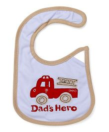 1st Step Velcro Closure Bib Dad's Hero Embroidery - Light Blue Red