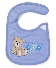 1st Step Velcro Closure Bib Teddy Bear Embroidery - Blue