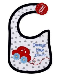 1st Step Velcro Closure Bib Car Embroidery - White Red