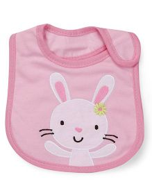 1st Step Velcro Closure Bib Bunny Embroidery - Pink