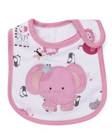 1st Step Velcro Closure Bib Elephant Embroidery - Pink White