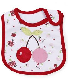 1st Step Velcro Closure Bib Cherry Embroidery - Red White