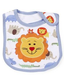 1st Step Velcro Closure Bib Lion Embroidery - Blue Yellow