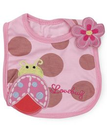 1st Step Velcro Closure Bib Bug Embroidery - Pink