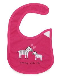 1st Step Velcro Closure Bib Zebra Embroidery - Fuchsia