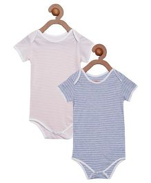 Berrytree Pack Of 2 Organic Cotton Stripe Onesies - Pink & Blue