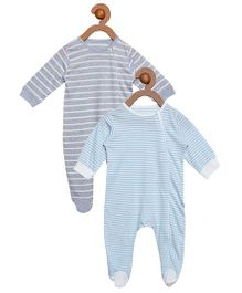 Berrytree Pack Of 2 Organic Cotton Stripe Rompers - Blue