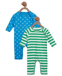 Berrytree Pack Of 2 Organic Cotton Stripe & Polka Dot Printed Rompers - Green & Blue