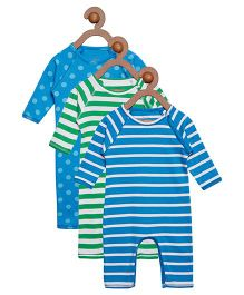 Berrytree Pack Of 3 Organic Cotton Stripe & Polka Dot Printed Rompers - Green & Blue