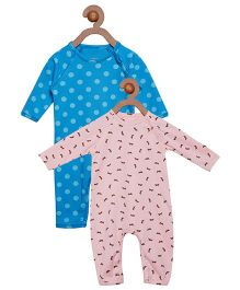 Berrytree Pack Of 2 Organic Cotton Rabbit & Polka Dot Printed Rompers - Blue & Pink