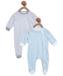 Berrytree Pack Of 2 Organic Cotton Stripe & Polka Dot Printed Rompers - Grey & Light Blue