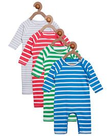 Berrytree Pack Of 4 Organic Cotton Stripe Rompers - Multicolour