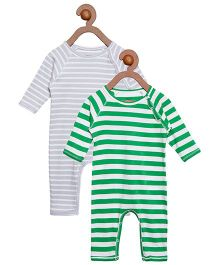 Berrytree Pack Of 2 Organic Cotton Stripe Rompers - Grey & Green