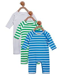 Berrytree Pack Of 3 Organic Cotton Stripe Rompers - Grey Green & Blue