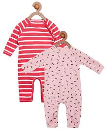 Berrytree Pack Of 2 Organic Cotton Rabbit Printed Rompers - Pink & Red