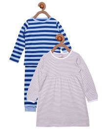Berrytree Organic Cotton Full Sleeves Night Suit & Dress Combo - Blue & Purple