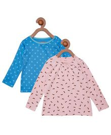 Berrytree Pack Of 2 Organic Cotton Full Sleeves Top - Blue & Pink