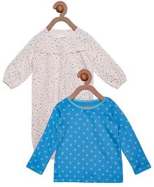 Berrytree Combo Of Organic Cotton Top & Romper - Blue & Pink
