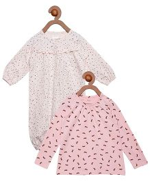 Berrytree Combo Of Organic Cotton Printed Top & Romper - Pink