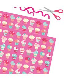 Purple Prints Cupcake Print Wrapping Paper - Pink