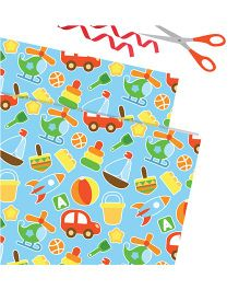 Purple Prints Toy Print Wrapping Paper - Blue