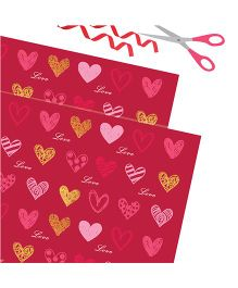 Purple Prints Hearts Print Wrapping Paper - Red