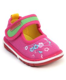 Cute Walk by Babyhug Casual Shoes Velcro Closure Floral Embroidery - Fuchsia