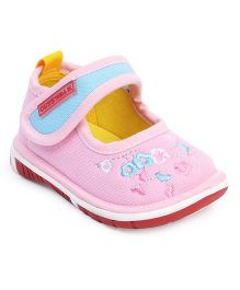 Cute Walk by Babyhug Casual Shoes Velcro Closure Floral Embroidery - Light Pink