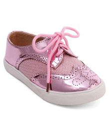 Cute Walk by Babyhug Party Wear Shoes With Self Design - Pink