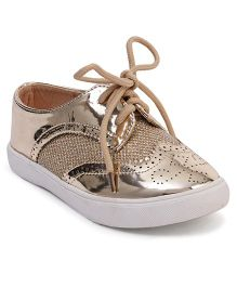 Cute Walk by Babyhug Party Wear Shoes With Self Design - Golden