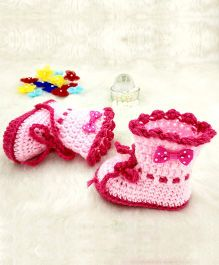 Magic Needles Boot Style Tie Up Booties With A Flower Applique - Dark Pink