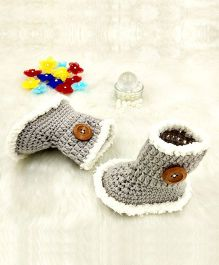 Magic Needles Boot Style Booties With Button Applique - Grey