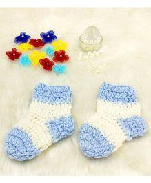 Magic Needles Contrast Socks - Blue