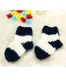 Magic Needles Contrast Socks - Navy Blue