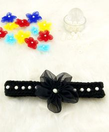 Magic Needles Fancy Hairband With Pearls & Flowers - Black