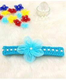 Magic Needles Fancy Hairband With Pearls & Flowers - Blue