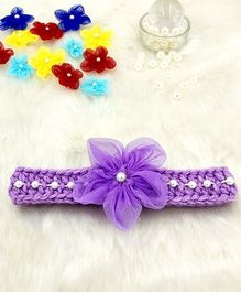 Magic Needles Fancy Hairband With Pearls & Flowers - Purple