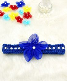 Magic Needles Fancy Hairband With Pearls & Flowers - Dark Blue