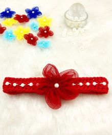 Magic Needles Fancy Hairband With Pearls & Flowers - Red