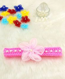 Magic Needles Fancy Hairband With Pearls & Flowers - Pink
