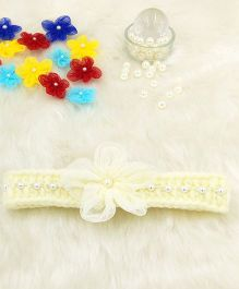 Magic Needles Fancy Hairband With Pearls & Flowers - Cream