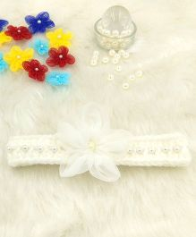 Magic Needles Fancy Hairband With Pearls & Flowers - White