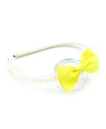 Magic Needles Handmade Bow Hairband - White & Yellow