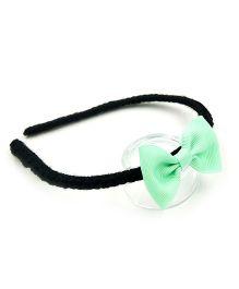 Magic Needles Handmade Bow Hairband - Black & Green