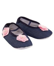 Daizy Denim Booties With Flower Applique - Blue & Pink