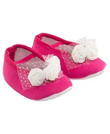 Daizy Mini Flowers Applique Booties - Hot Pink