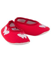 Daizy Butterfly Printed Booties - Red