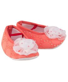 Daizy Flower & Pearl Applique Chikankari Booties - Peach
